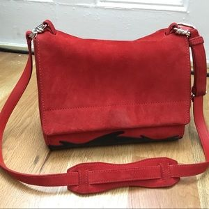 3.1 Phillip Lim Red Suede Ames Patchwork Bag.